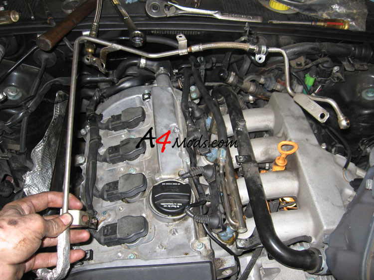 B6 Audi A4 - Big Turbo Upgrade Install APR Stage 3 oil line